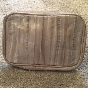 Luxury Leather Eel Skin Cosmetic Bag